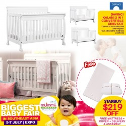 DaVinci Kalani 3-in-1 Convertible Crib/Cot + Babyletto Pure Core Non-Toxic Crib Mattress with Dry Waterproof Cover + FREE Delivery & Assembly!!