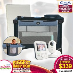 Graco Pack N Play Simple Solutions Playpen (Hadlee) + AntiDustmite Mattress + Philips Avent Video Baby Monitor