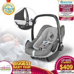 Maxi Cosi Pebble Plus Infant Carseat + Free 3 Years Warranty + Carseat Installation worth $80!