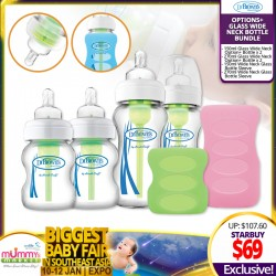 Dr Brown Glass Options+ Wide Neck Bottle Bundle FREE Bottle Sleeves (WORTH $38.70)