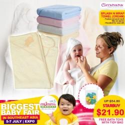 Clevamama Splash and Wrap Baby Bath Towel / Baby Towel FREE Bath Toy with Tidy Bag (WORTH $19.90!)
