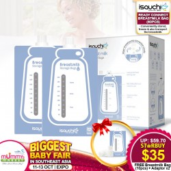 Isa Uchi Ready Connect Breastmilk Bag (80 pcs) FREE Starter Pack Bundle (10pcs Breastmilk Bags + 2 Adaptors)  *ADDITIONAL OFF with SAVE MORE COUPON!