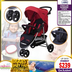 Asalvo Stroller Running Stripe + Free 6 Months Warranty