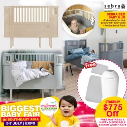 Sebra Bed, baby & jr. series with FREE Mattress (Harmony, Baby, Junior) + Tommee Tippee Diaper Disposable System & Delivery + Assembly!!