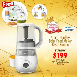 (2020 AWARD WINNER)Philips Avent 4-in-1 Healthy Baby Food Processor Basic Bundle (Steamer Blender + Mealtime + Storage Pots + Via Cup + 6pcs Towel Set)
