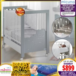 Micuna Dolce Luce Luxe Relax Luxe Baby Cot + Free 4