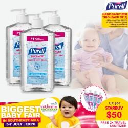 Purell Hand Sanitizer Trio (Bundle of 3) + FREE Purell Travel Sanitizer (1oz) with Jelly Wrap x2