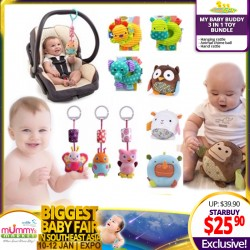 BabyToon My Baby Buddy 3-in-1 Toy Bundle (Hanging Rattle + Animal Chime Ball + Hand Rattle)