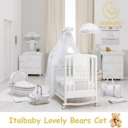 ITALBABY LOVELY BEARS COT+ Free BABYDREAM Bedding set + 4 Inch HIGH DENSITY ANTIDUSTMITE FOAM MATTRESS + DELIVERY + ASSEMBLY + 1 Year Warranty