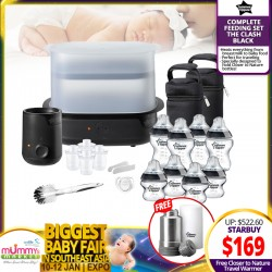 Tommee Tippee Complete Feeding Set (BLACK - The Clash) + FREE Travel Warmer