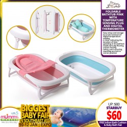 Littlelamb Foldable Bath Tub (Pink/Blue) + FREE Infant Bath Cushion + Baby Bath Net