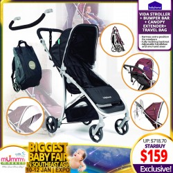 Babyhome Vida Stroller FREE Bumper Bar + Canopy Extender + Travel Bag (UP TO 80% OFF!)