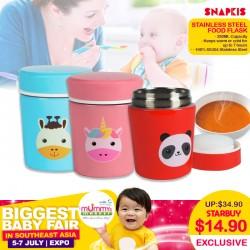 Snapkis Stainless Steel Food Flask (280ml) - PANDA / GIRAFFE / UNICORN