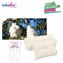 Babylove Baby Organic Cotton Kapok Pillow and Bolster Set + FREE 1x Pillowcase + 2x Bolstercases
