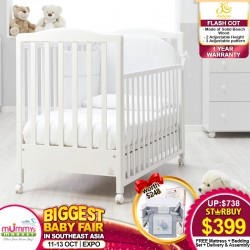 ITALBABY Flash Baby Cot + BabyDream 4 inch High Density Foam Mattress + 7in1 Bedding Set + Free Delivery + Assembly
