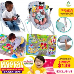 Disney Baby Rest and Play Bundle (Mickey Mouse Rocker + Disney Pals Playmat)