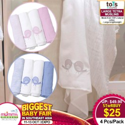 toTs by SmarTrike 4PP Large Tetra Muslin *BUY MORE SAVE MORE!!