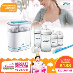 Philips Avent 3-In-1 Electric Steam Sterilizer + Newborn Starter Set and Bottles + FREE Gifts