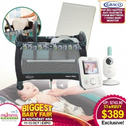 Graco Pack N Play Playpen Napper & Changer (Boden) + Anti-Dustmite Mattress + Philips Avent Video Baby Monitor