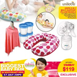 Unilove Hopo 3-in-1 Maternity Multi Support Pillow + Philips Avent Manual Comfort Breastpump + VIA Cup 180mlx4pcs + Nursing Shawl