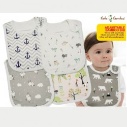 Bebe Bamboo Adjustable Bamboo Bib - Grow with your baby! Buy 1 Free 1